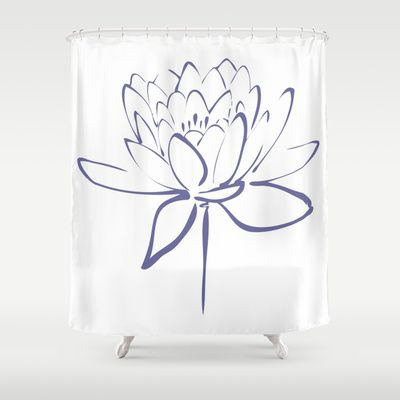 Blue Lotus Blossom Calligraphy Print Shower Curtain by Makanahele - $68.00