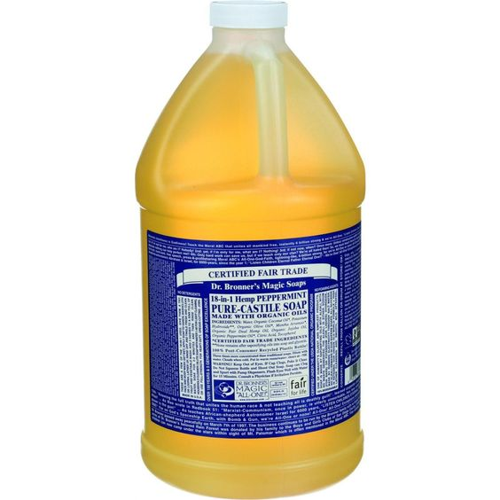 Dr. Bronner's Pure Castile Soap - Fair Trade And Organic - Liquid - 18 In 1 Hemp - Peppermint - 64 Oz