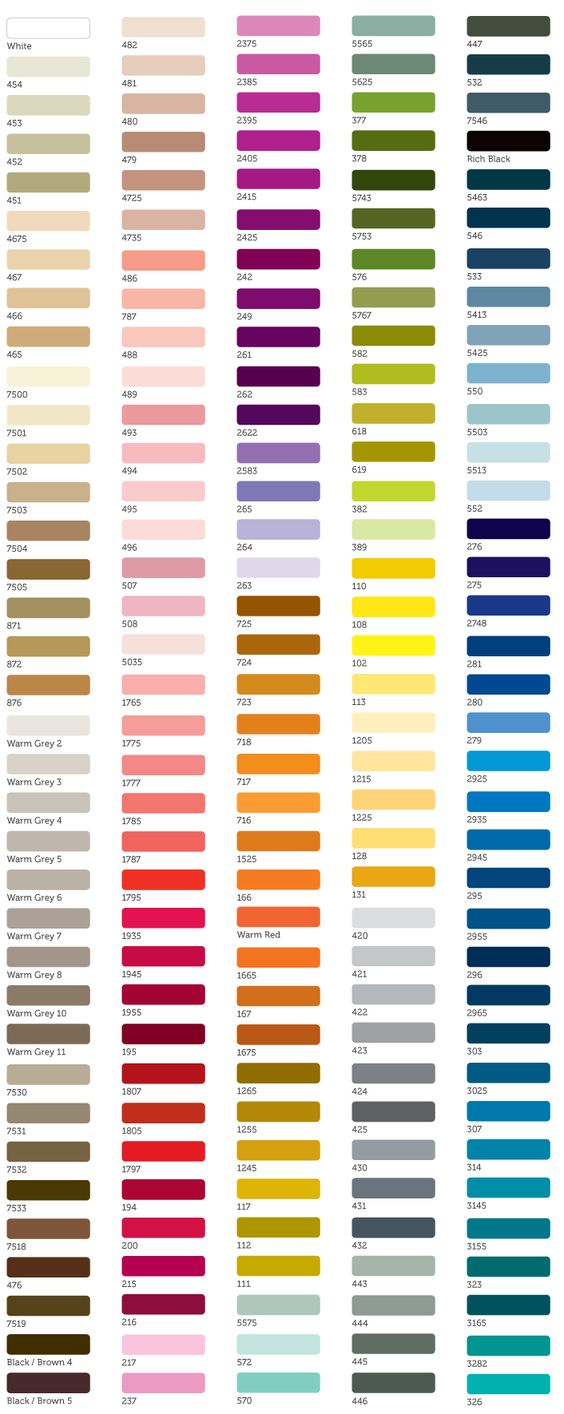 Choosing art colours pantone matching system color for Color charts for painting walls