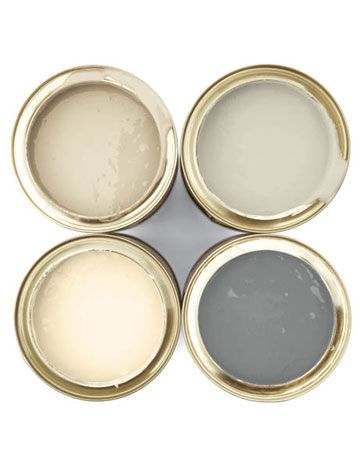 HE COLORS: It's all about serenity, and it starts with super-subtle neutrals that tend to have very odd names. CLOCKWISE FROM TOP LEFT: String, Stony Ground, Chemise, Slipper Satin; farrow-ball.com. For more great neutrals, see Colors in Neutral: