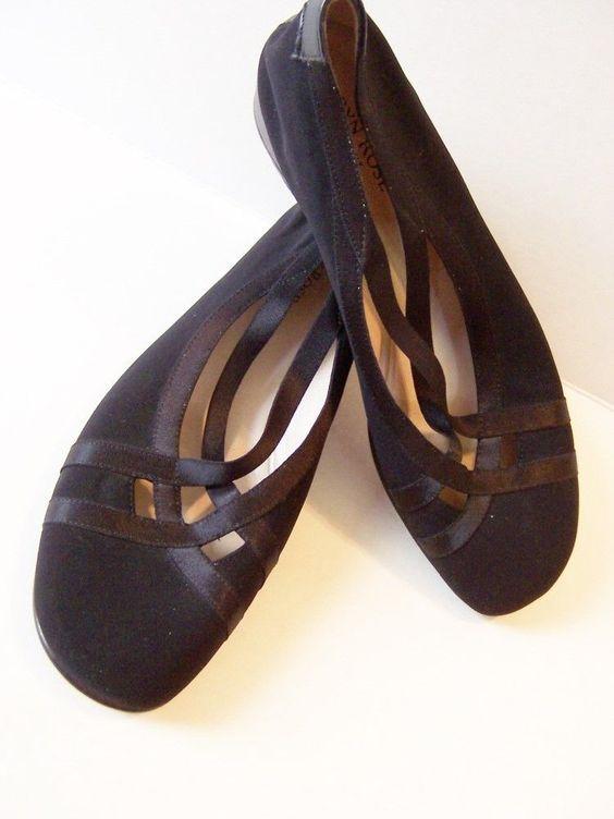 TARYN ROSE Black Leather Criss Cross Mary Jane Mini Wedge Heels Pumps 39.5 9 9.5 #TarynRose #PlatformsWedges