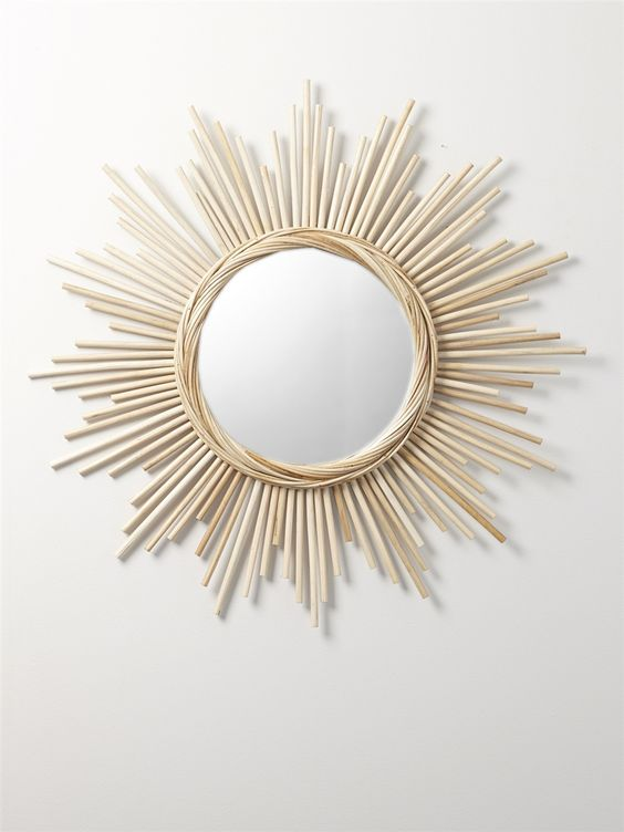 Miroir soleil rotin rotin interieur for Miroir 40x120