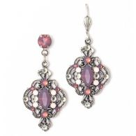 These elegant silver earrings contain a cat-eye purple center crystals with smaller purple and rose opal encrusted crystals throughout their design. Pair this gorgeous set with matching necklace! Made with SWAROVSKI ELEMENTS.