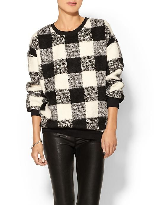 Boyfriend check sweater in black and white buffalo check