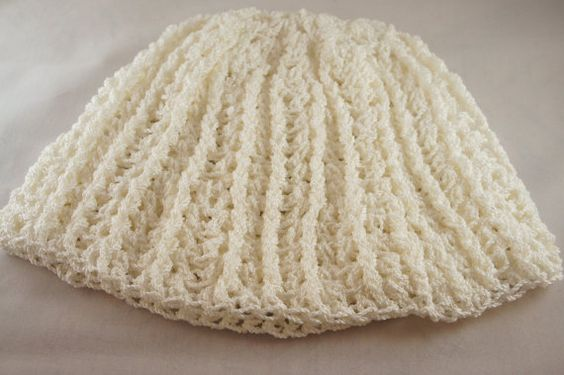 Women's Handmade Crochet White Lacy Ribbed Beanie- Ready to Ship on Etsy, $22.00