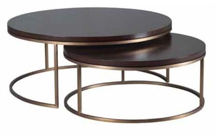 Elle Round Nest Coffee Table Marble top with Brass Frame 2530