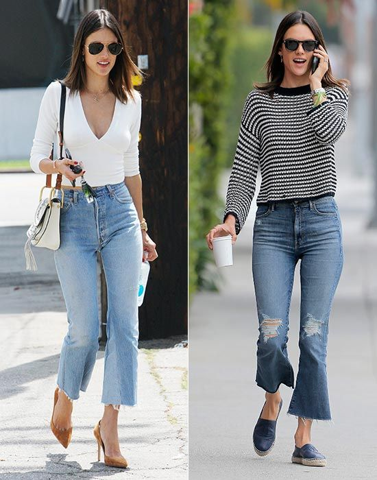 Alessandra Ambrosio con cropped flared jeans