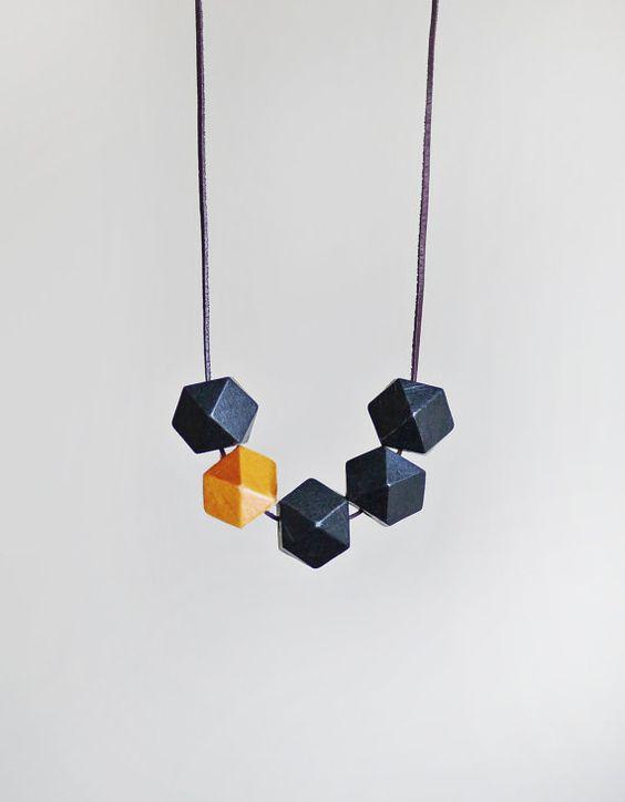 geometric necklace ++ blue bird lab