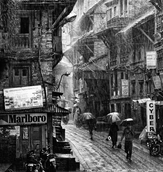A torrential monsoon rain in Bhaktapur, Nepal by Anuar Patjane