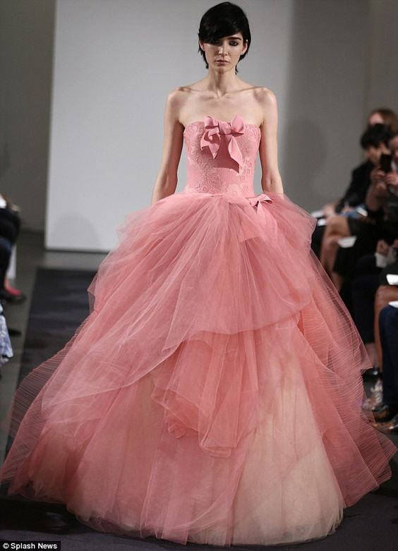 Vera Wang snubs white for all-pink fall 2014 bridal collection ...