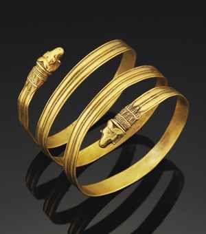 Have Rachael Zoe snake coil bracelet...best I could do, but sure like this one!  A GREEK GOLD BRACELET  HELLENISTIC PERIOD, CIRCA 4TH-3RD CENTURY B.C.