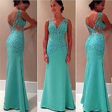 Teal bleu dentelle élégante en mousseline de soie longue sirène soirée robes de…