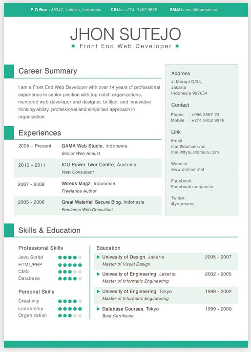 one page resume template free download paru pinterest resume