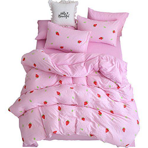 Warmgo Lightweight Duvet Cover Set Pink King Hidden Zipper Closure Strawberry Bedding Set 4 Piece 1 Duvet Cover 1 Lightweight Duvet Covers Duvet Cover Sets Bed