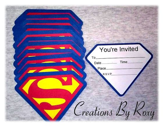 Set de invitaciones de Superman de 12 por CreationsbyRoxy en Etsy