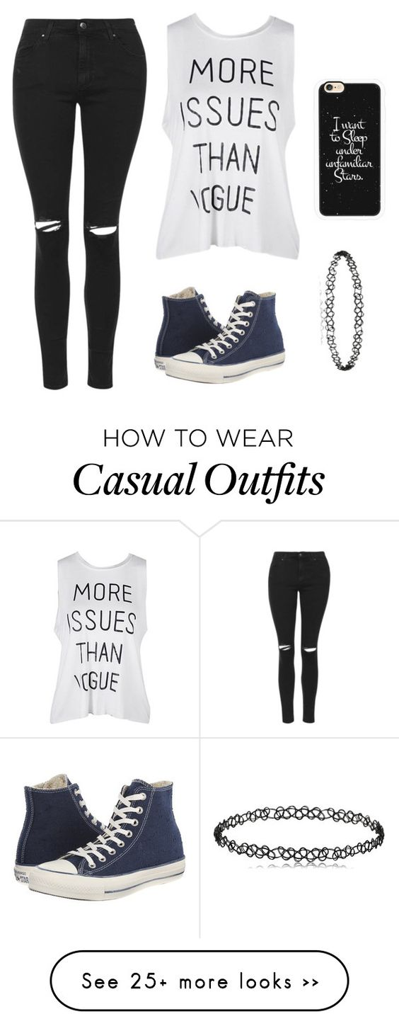 """Casual~"" by x-dreamcatcher-x on Polyvore featuring Topshop, Converse and Casetify"