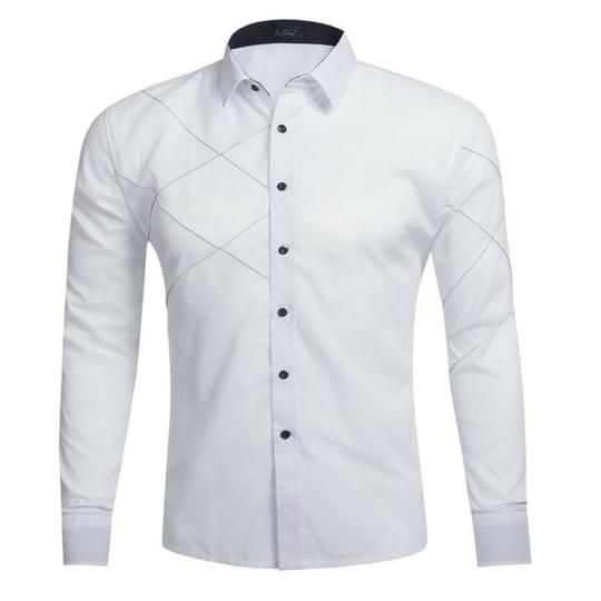 XTX Mens Slim Fit Long Sleeve Casual Christmas Print Button Up Dress Shirt
