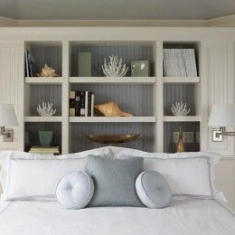 Love this built-in headboard!