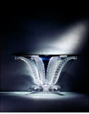 Lalique crystal style console table--very luxurious and expensive.