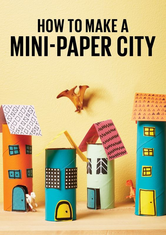 Build a mini city for your child's toys and figurines with this recycled paper towel roll craft.: