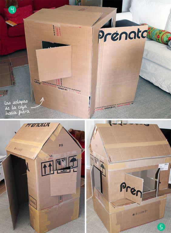 C mo hacer una casita de cart n estructura sam pinterest - Hacer manualidades para casa ...