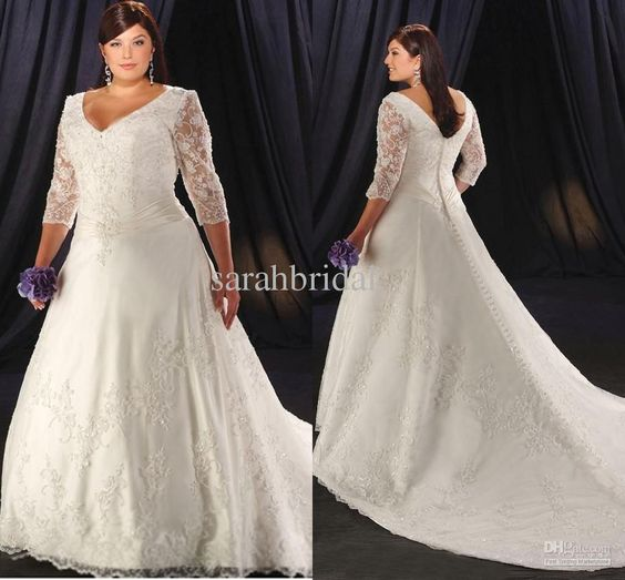 Wholesale A-Line Wedding Dresses - Buy Plus Size 2013 Sexy Charming New Style Empire Tulle V Neck Appliques Ruffles Pleats Long Sleeve Bride Ball Gown Wedding Dress Dresses, $168.0   DHgate