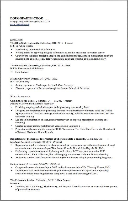 Pharmacy Resume Example DOUG SPAETH-COOK dougspaeth@osumcedu - hha resume