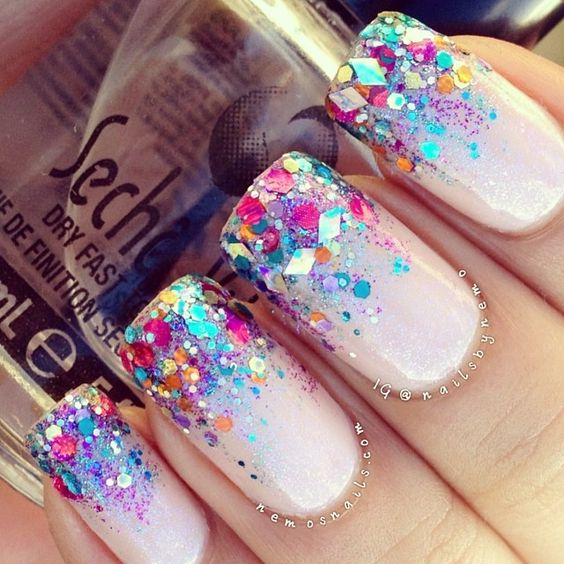 Nails inc Phillimore Gardens & Dovehouse Street with Barry M Aqua glitter Barry M Magenta glitter & Glimmer by Erica 'Vegas, Baby'