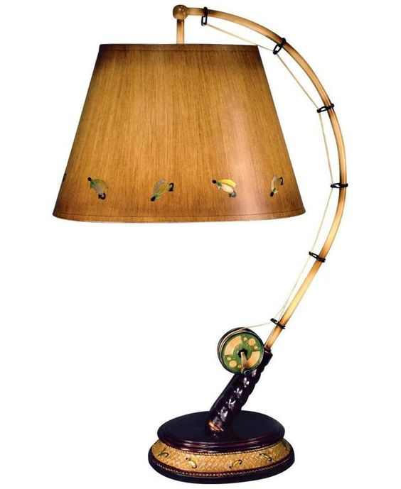 fishing decor flying fish rod table lamp product