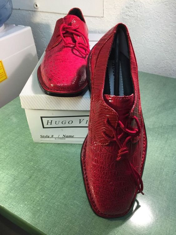 Details about Hugo Vitelli Boys' New Solid Red Dress Shoes with ...