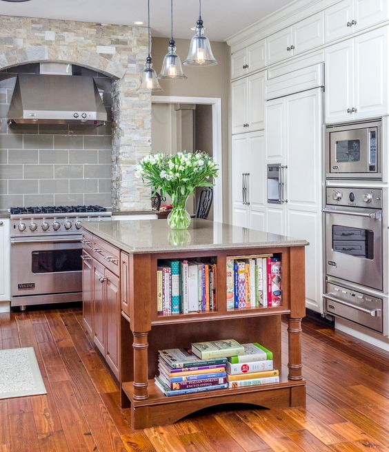Kitchen island tip create a bookcase for your cookbooks for Anchorage kitchen cabinets