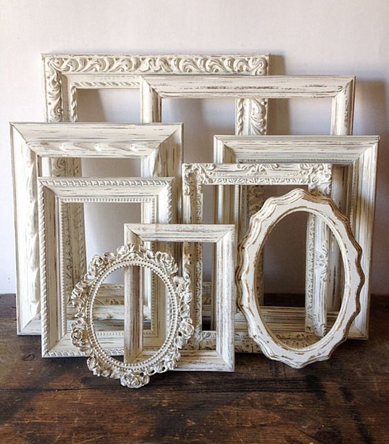 10 Shabby Chic Nursery Design Ideas: Empty Picture Frame Set Of 10 Antique White Shabby Chic