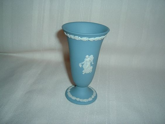 "Wedgwood England Blue Jasperware Goblet Vase 4"" Dancing Hours | eBay"