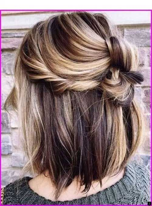 Cute And Chic 15 Half Up Half Down Bob Bob Haircut And Hairstyle Ideas Short Hair Styles Hair Color For Women Short Hair Color