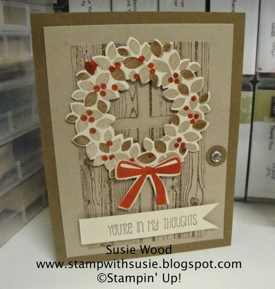 Stampin' Up!- Here is a beautiful fall wreath using 'Wondrous Wreath' stamp set and coordinating framelits!