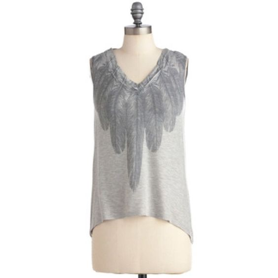 """ModCloth Tops - ModCloth """"The More The Feather"""" Hi-Low Tank"""