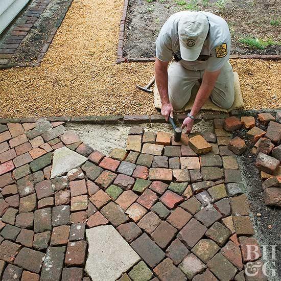 build this simple broken brick patio in