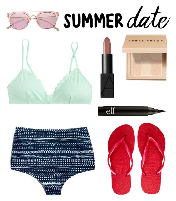 """Made by MaggieTheQueen"" by maggiethequeen ❤ liked on Polyvore featuring J.Crew, Madewell, Havaianas, Bobbi Brown Cosmetics, NARS Cosmetics, beach and summerdate"