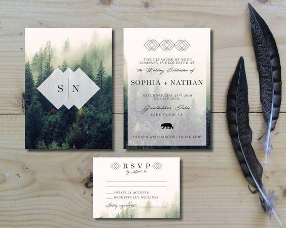 Printable Wedding Invitation Set   Wedding Invitation + RSVP card   Forest, woodland, camp, nature   Green, cream and black   Fog Forest