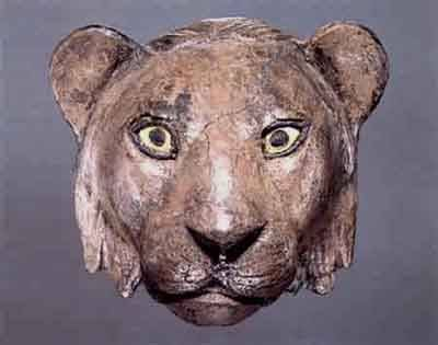 Silver Lion Head -- Circa 2650-2550 BCE -- Excavated from the Royals Tombs at Ur -- Silver, lapis lazuli & shell -- Belonging to the University of Pennsylvania's Museum of Archaeology & Anthropology: