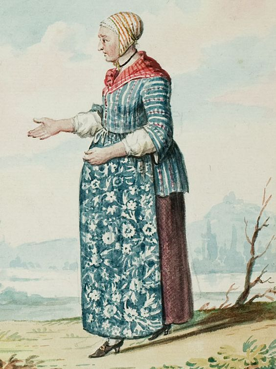 """1770s - 18th century - woman's outfit with mixed print fabrics (jacket in stripes, apron in floral, neckerchief in stripes, and cap in different stripes) - From """"An album containing 90 fine water color paintings of costumes."""" Turin : [s.n.] , [ca.1775]. In the collection of the Bunka Fashion College in Japan.:"""