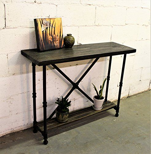 Furniture Pipeline Industrial 2 Tier Console Sofa Hall Table