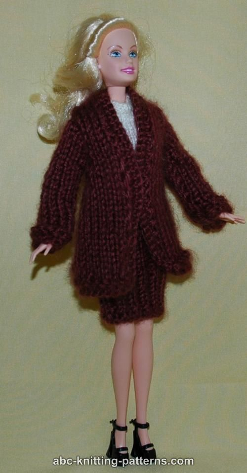 ABC Knitting Patterns - Barbie Elegant 2-Piece Suit (Long Coat and Skirt) I...