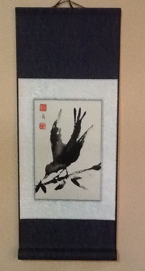 Black bird scroll - wabi sabi