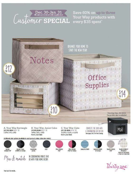 Customer special!!! Spend $35 and get 3 cubes of your choice at reduced prices!!! www.mythirtyone.com/cathycouch