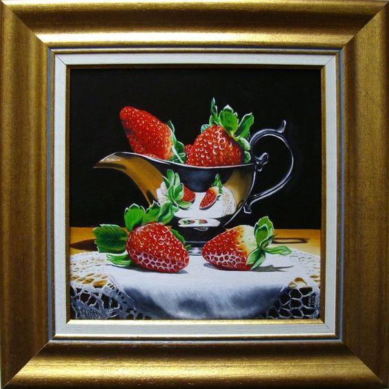 ARTFINDER: Strawberries in sauceboat by Jean-Pierre Walter - Painting n°1932 - Private Coll. - Hong-Kong