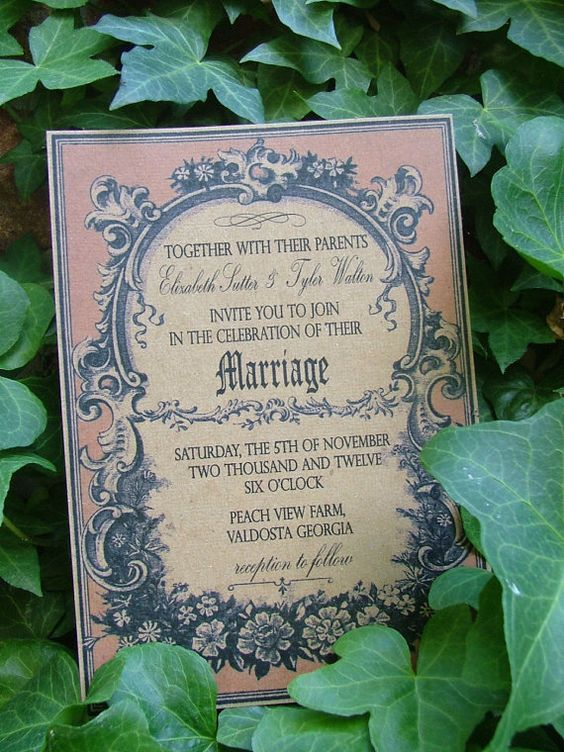 wedding invitation Vintage  antique shabby chic by sweetcookie, $100.00