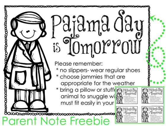 Pajama Day Letter To Parents