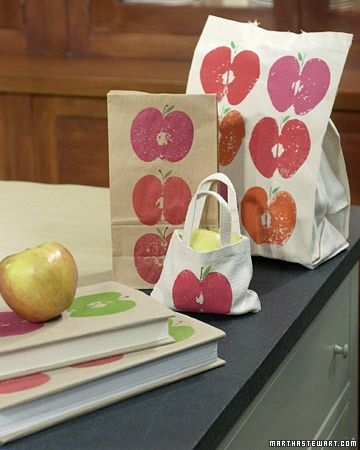 This would be good craft for girls to decorate for their teachers end of year gift on canvas bag -  cut apples in half to make the stamp.: