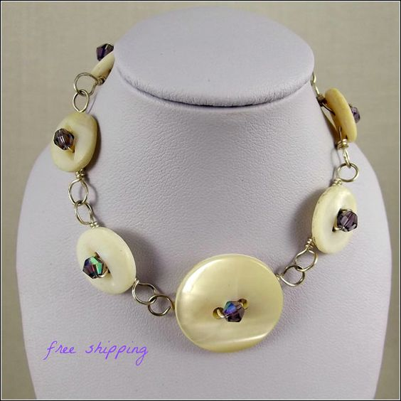 Vintage Mother or Pearl Button Bracelet with by BurntSkyDesigns, $25.00